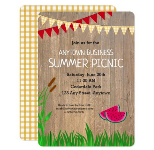 rustic company picnic invitation