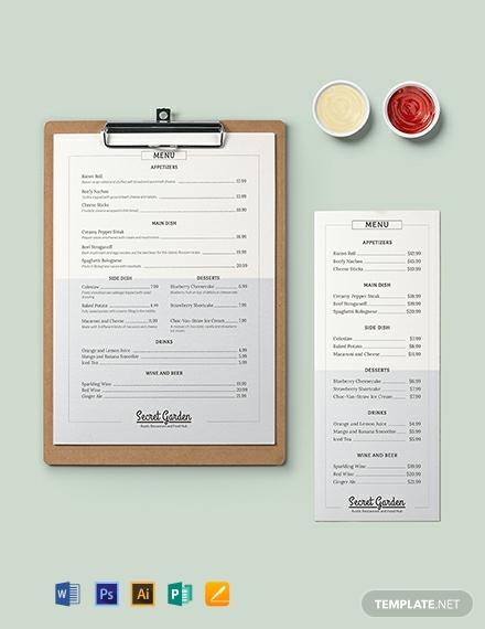 rustic event menu template