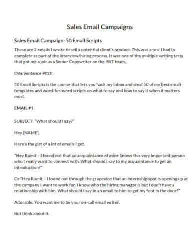 sales email campaign template