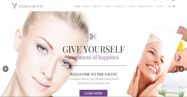 salon beauty – drag and drop page builder wordpress theme