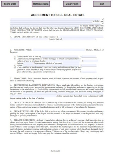sample agreement to sell real estate
