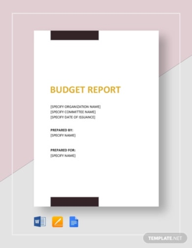 sample budget report template