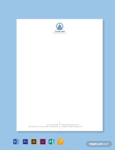 sample building construction letterhead template