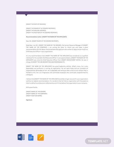 sample ceo recommendation letter