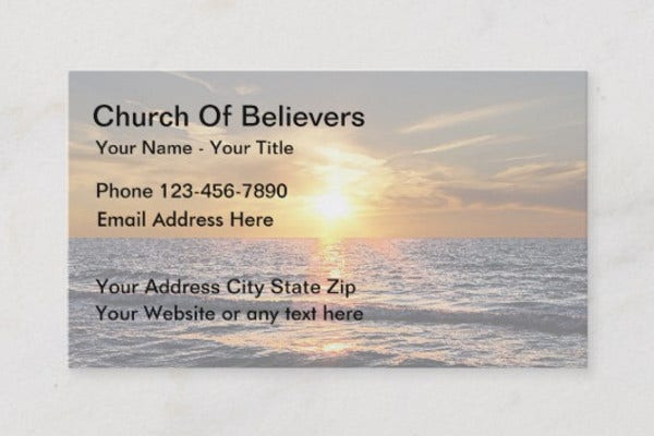 sample church bussiness card