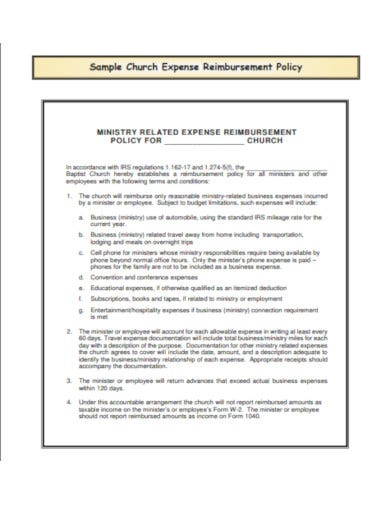 sample church expense report example