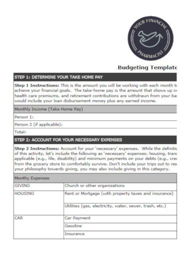 sample college budget template