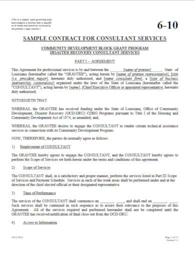 sample contract for consultant services template