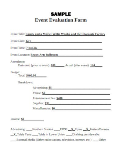 sample event evaluation form template