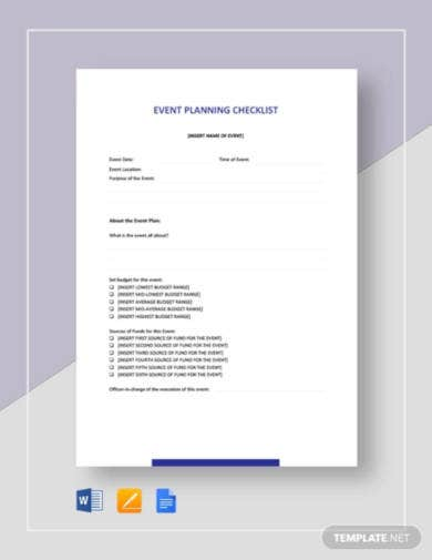 sample event planning checklist