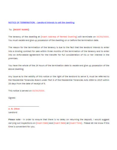 sample eviction letter to tenant template