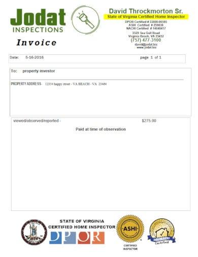 sample hvac invoice