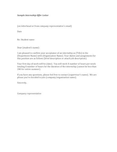 sample internship company offer letter