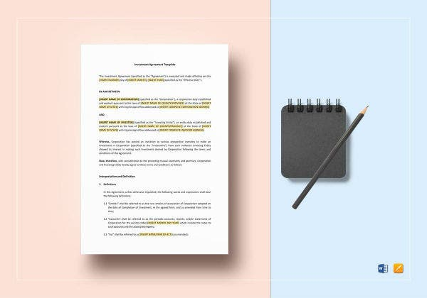 sample investment agreement template