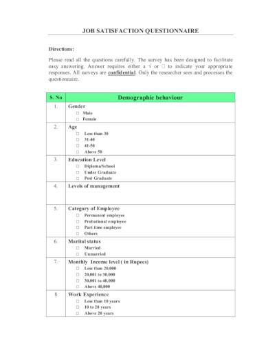 sample job satisfaction survey in pdf