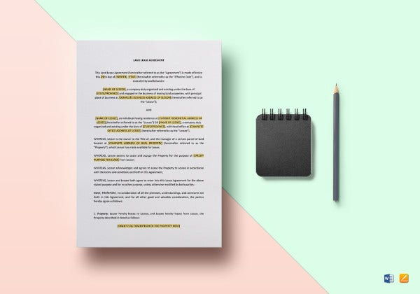 sample land tenant lease agreement template