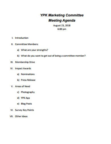 sample marketing meeting agenda
