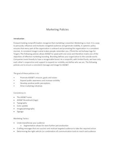 sample marketing policy template