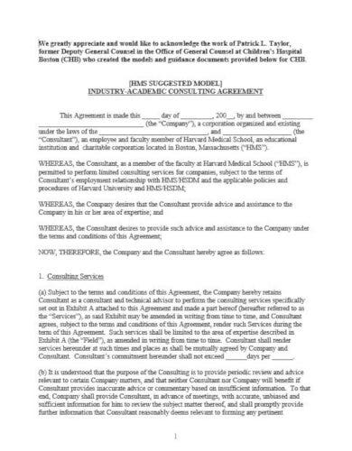 sample medical consultant agreement template