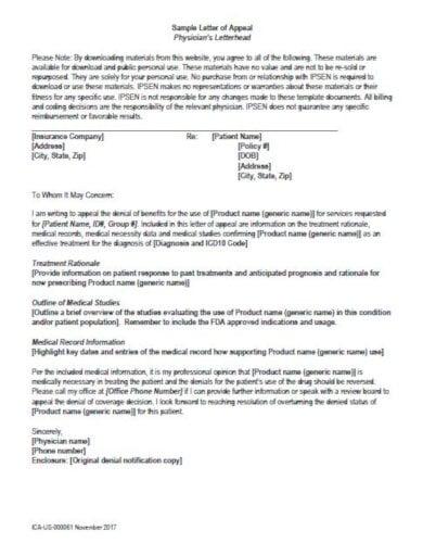 sample medical letter of appeal