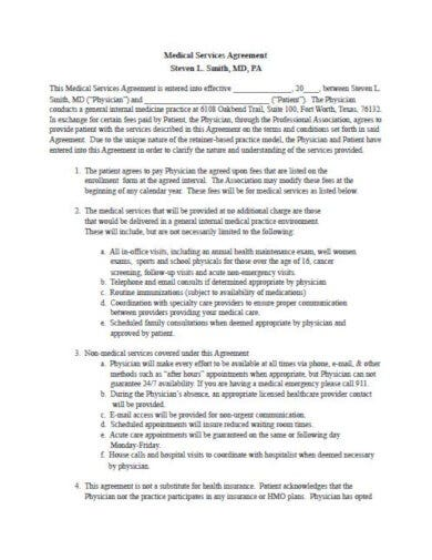 sample medical services agreement template