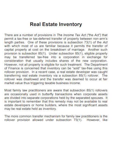 sample real estate inventory