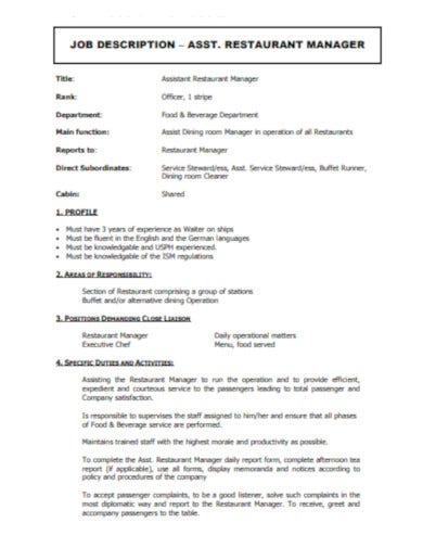 sample restaurant job description template