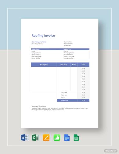 sample roof repair invoice template