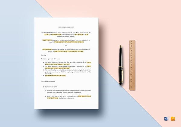 sample room tenant lease agreement template