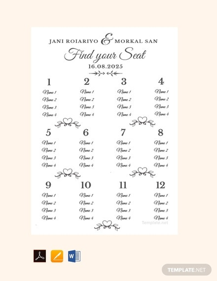 sample wedding seating chart template