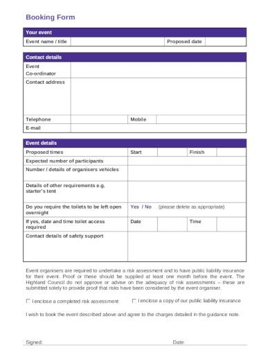 sample of event booking form in pdf