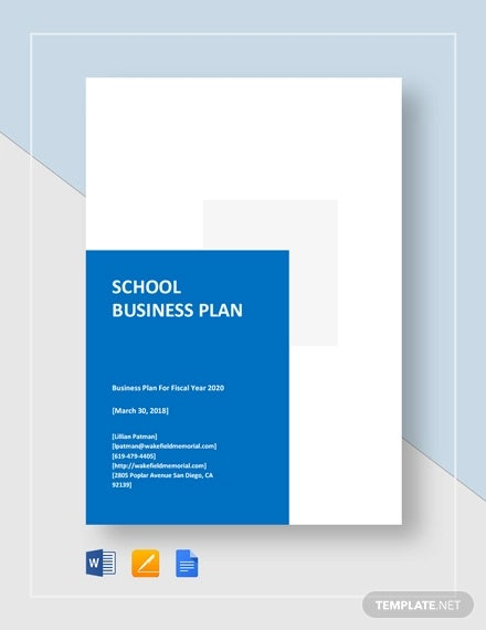 school business plan template