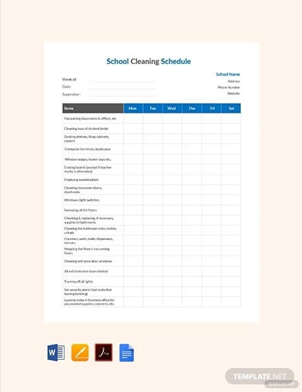 school cleaning schedule template