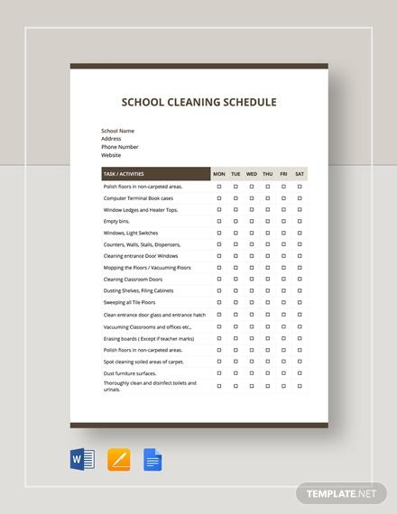 school cleaning schedule