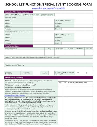 school event booking form template
