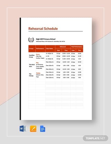 school rehearsal schedule