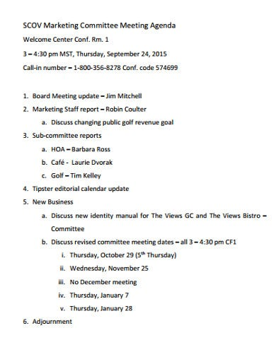seasonal marketing meeting agenda
