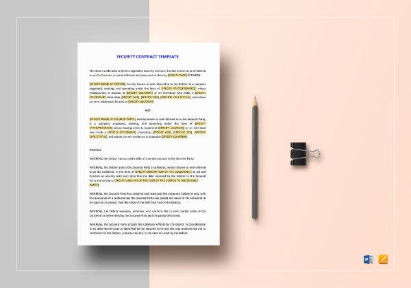 security contract template mockup