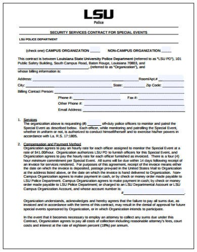security service contract for special events