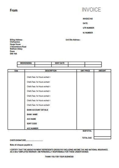 self employed chef invoice