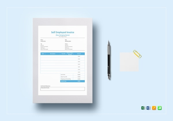 self employed service invoice