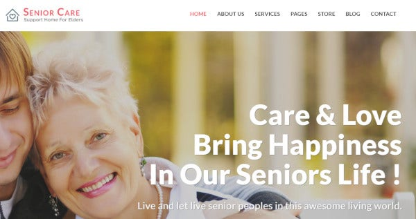 senior care parallax wordpress theme