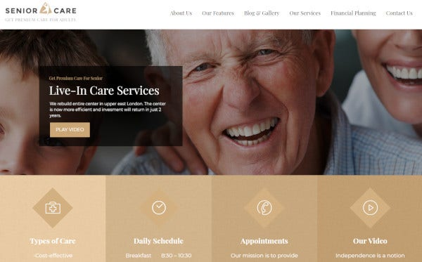 senior page builder wordpress theme