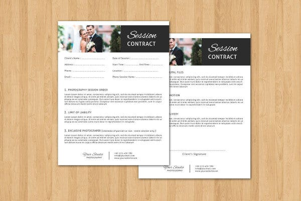 session contract form template