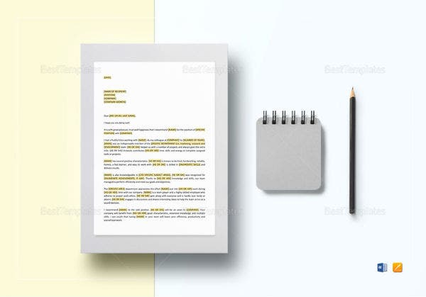 simple ceo letter of recommendation template