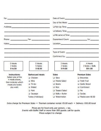 simple catering worksheet