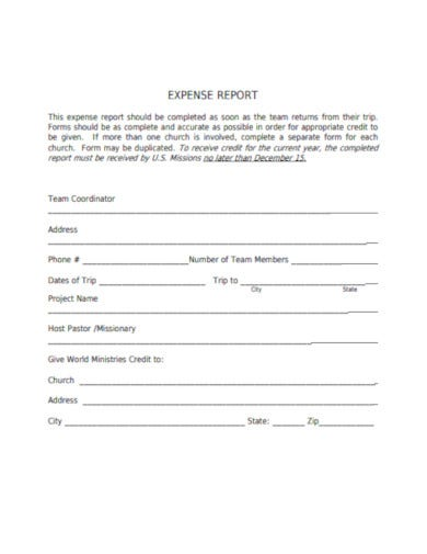 simple church expense report template