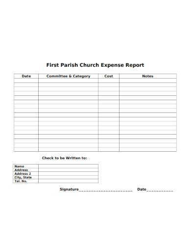 simple church expense report in pdf