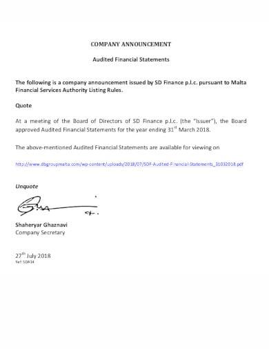 simple company announcement in pdf