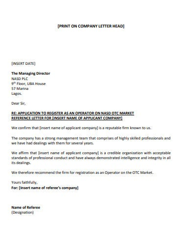 simple company reference letter template